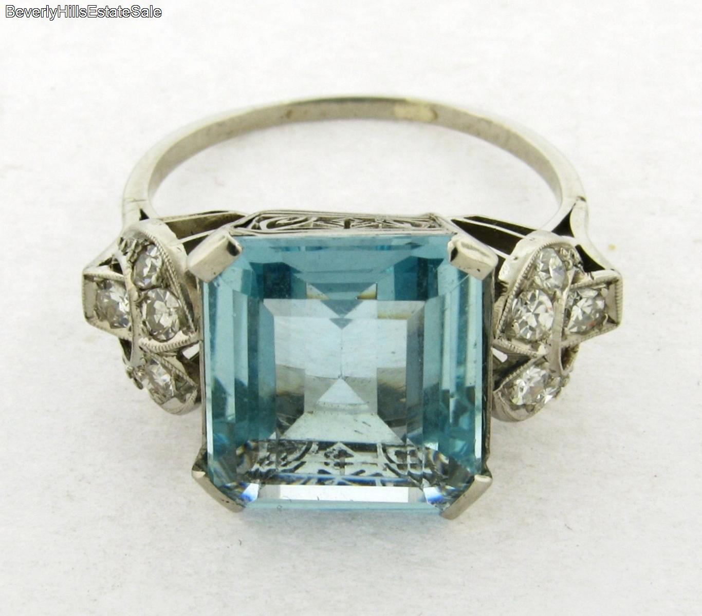 antique deco platinum aquamarine diamonds ring ebay