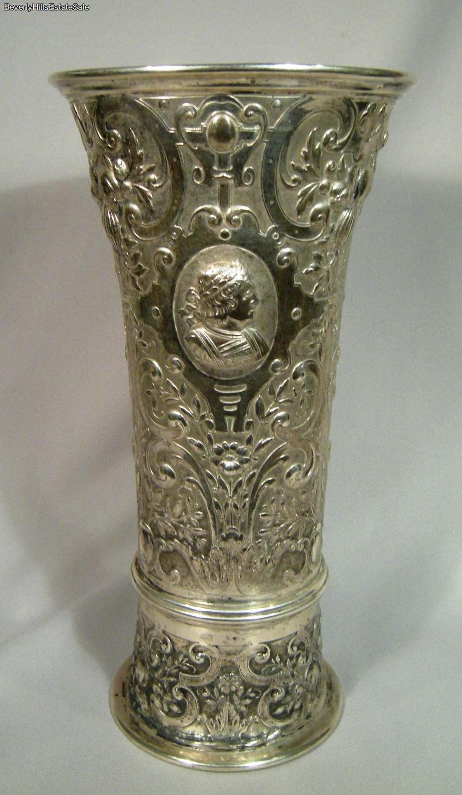 stunning large antique repousse austrian silver figural flower vase ebay. Black Bedroom Furniture Sets. Home Design Ideas
